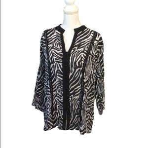 Notations black and white dressy buttoned down top